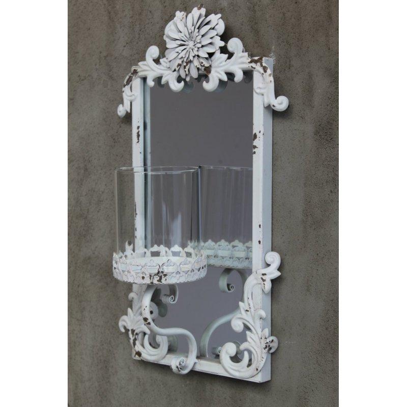 Spiegel Wandkerzenhalter weiß shabby, Dekocharme