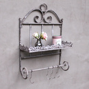 Shabby Chic Wandregal mit Haken Metall Grau Landhausstil